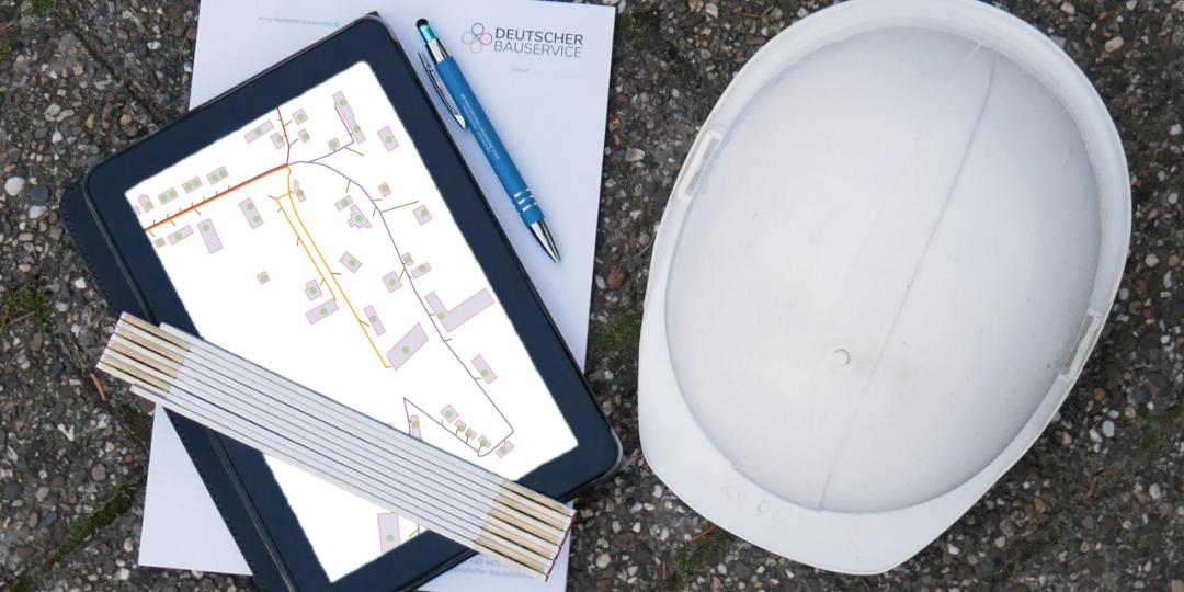 Bauleiter Glasfaser Essentials - Baustellenhelm, Maßstab, Notizheft und Tablet für Dokumentation